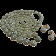 Super Long Graduated Natural Jade Bead Necklace & 14K Jade Clip Earrings Set