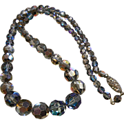 Vintage Graduated Iridescent Faceted Glass Bead Necklace