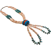 Unique Vintage Native American Shell & Turquoise Bead Necklace