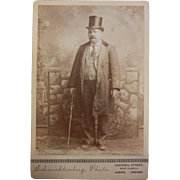 Vintage Original B&W Schnichtenberg Cabinet Photograph - Old  Man in Top Hat