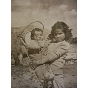 Vintage  B&W Photograph by Eldon W. Snow Native American Girl Holding A Baby Papoose