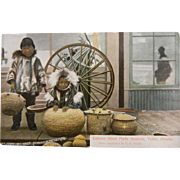 Vintage Colorized Photo Postcard Eskimo Hand Made Baskets - Teller, Alaska