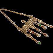 Vintage 1960's Accessocraft NYC Unique Gold-Tone Pendant Necklace
