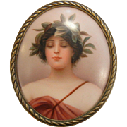 Fine Hand Painted Porcelain Picture of Lady Portrait