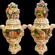 Antique Carl Thieme German Porcelain Rococco Lidded Pot Pourri Vase/Urns