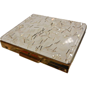 Vintage Tradition Gold-Tone Compact w/ White Moon Confetti Decor