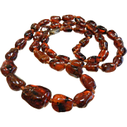 Vintage Polished Natural Amber Bead Necklace w/ Silver Clasp