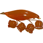 Fine Carved Natural Amber Lily of the Valley Brooch