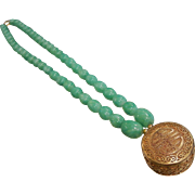 Vintage Green Glass Bead Necklace w/ Chinese Prosperity Symbol Medallion Pendant