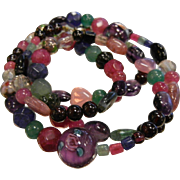 Vintage Multi Colored Gemstone & Glass Bead Necklace