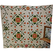 Antique Applique Quilt Made by Clarissa Mobly Prior to 1857 Rose of Sharon & Bird Decor
