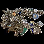 Vintage World Travel-Themed Sterling Silver Charm Bracelet