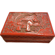 Vintage Carved Cinnabar Box