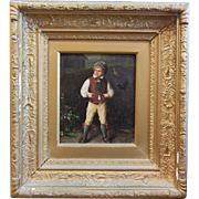 "Antique Framed Oil Painting on Metal Signed KNAUS - ""The Village Prince"""
