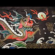 Vintage Traditional Samurai Hakama w/ Silk Embroidered Dragons