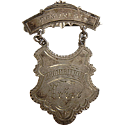 "Vintage Silver ""Prohibition Prize Award"" Pin"" Demorest"""