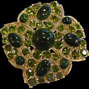 Vintage WEISS Gold-Tone Brooch w/ Green Rhinestones