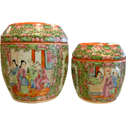 Pair of Vintage Chinese Enameled Porcelain Lidded Containers
