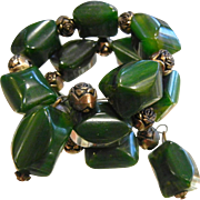 Vintage Marbled Green Bakelite Bead Bracelet