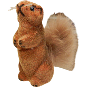 Vintage German Real Fur Animal Figure - Squirrel