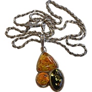 Vintage Sterling Silver Pendant w/ Trio of Amber Cabochons