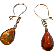 Vintage Gold Plated Amber Earrings