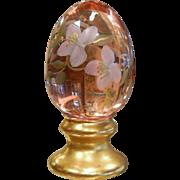 Vintage FENTON Hand Painted Gilded Purple Glass Egg