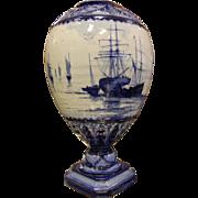 Antique Royal Crown Derby England Flow Blue & White Porcelain Lamp Base/Urn