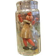 Vintage Miniature Wooden Doll in a Bottle