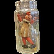 Vintage Miniature Wooden Doll in a Bottle
