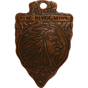 Vintage Fob Souvenir of Pine River, MINN. Native American Indian Chiefton
