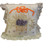 Vintage Ribbon Embroidered Throw Pillow - Souvenir de France