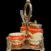 Vintage Porcelain Condiment Trio w/ Stand