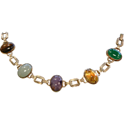 Vintage Gold Filled Link Bracelet w/ Natural Gemstone Cabochons