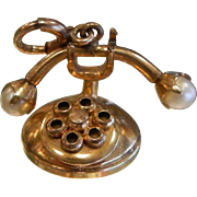 Vintage Gold Filled Charm - Rotary Telephone