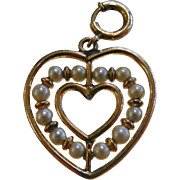 Vintage Gold Filled Charm - Pearl Heart