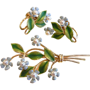 Vintage KREMENTZ Enamel Forget Me Not Flower Brooch & Earrings Set