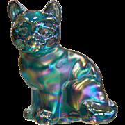 Vintage FENTON Blue Green  Glass Cat