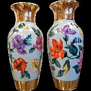 Pair of Rare Vintage German KPM Floral Vases