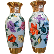 Pair of Rare Vintage German KPM Floral Vases