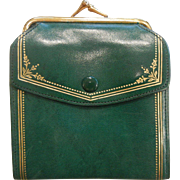 Vintage Gilded Green Soft Leather Wallet