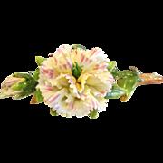 Ornate Vintage German Porcelain Carnation Flower Card Holder