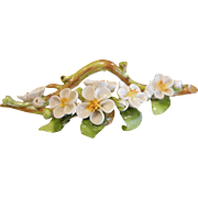 Ornate Vintage German Porcelain Apple Blossom Branch Flower Card Holder