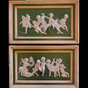 Pair of Antique German Jasperware Volkstedt Putti Plaques