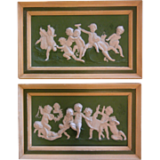 "Antique German Jasperware Plaque Volkstedt Putti ""Dance of Bacchus"""