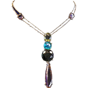 Vintage Drop Style  Pendant Necklace With Colored Stones