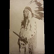 Vintage Original B&W Photo Postcard -Chief Heaven Fire, Assiniboine