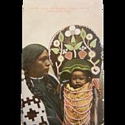 Vintage Original Lee Moorhouse Photo Postcard - Umatilla Squaw and Pappoose