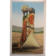 Vintage Original Colorized Photo Postcard - Indian Squaw Drinking From Basket Water Bottle