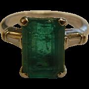 Platinum & Natural Emerald And Diamond Ring - Size: 6.25